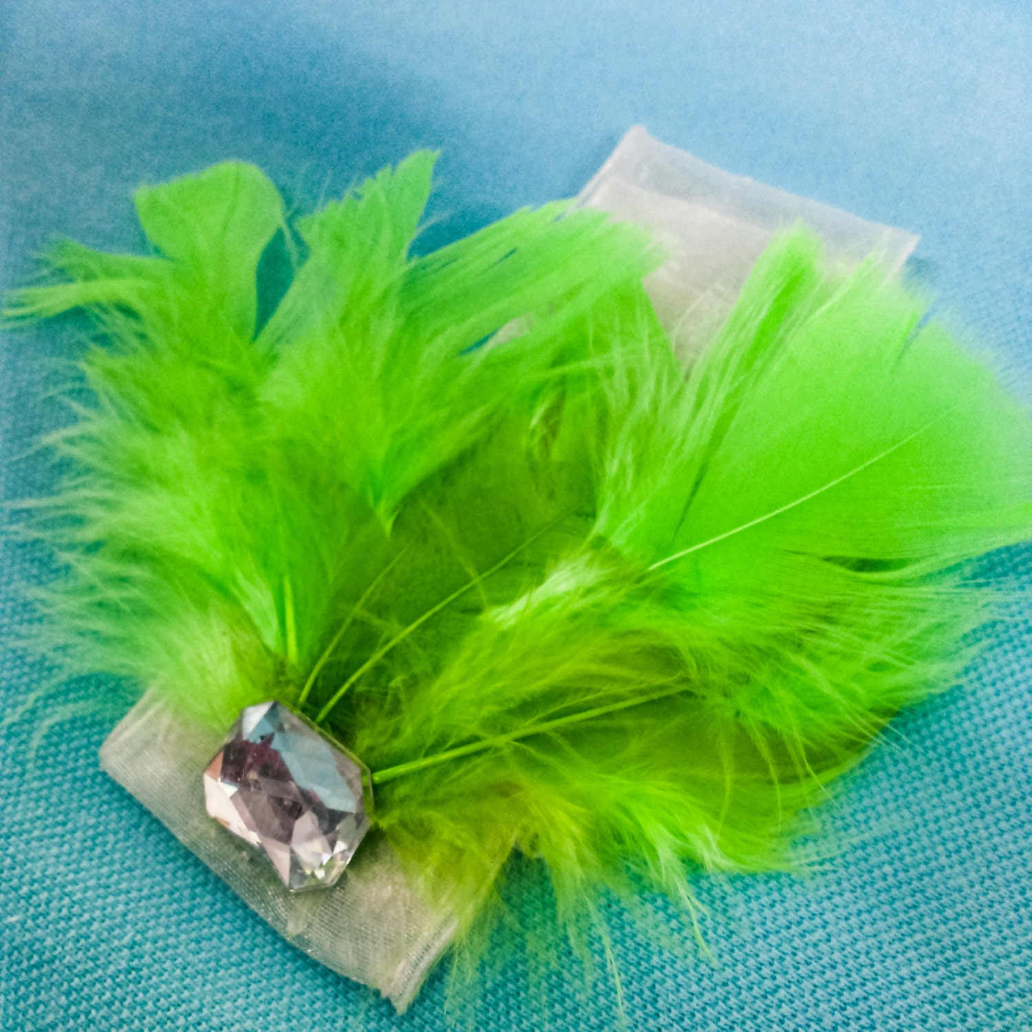 Hand Crafted Lime Green Feather Headband with Jewel Accent