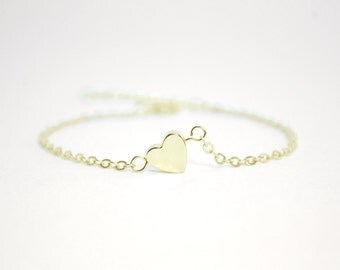 Dainty heart bracelet - gold heart bracelet - dainty jewelry - stacking bracelet - layering bracelet - jewelry for women