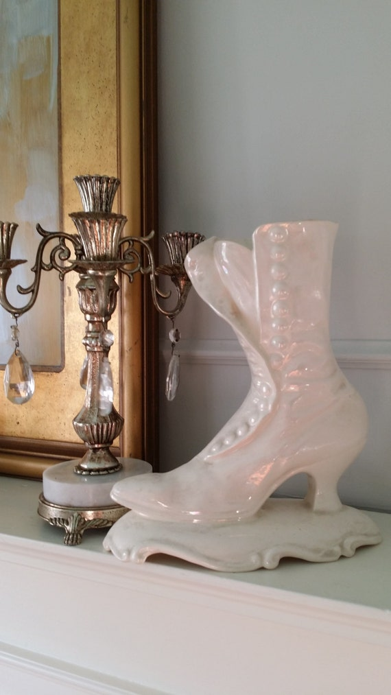 Vintage Ceramic Victorian Boot Vase Planter White Iridescent