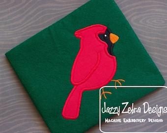 Redbird Applique embroidery Design -  Cardinal Applique embroidery Design - bird appliqué design - cardinal appliqué design