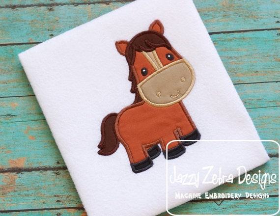 Horse Appliqué Embroidery Design - Pony applique design - Horse appliqué design - farm appliqué design - mascot applique design