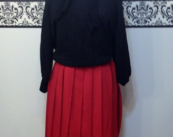 80's Does 50's Lipstick Red Pin Up Pleated Skirt by Requirements, Size 14 , Vintage Rockabilly 1980's Skirt