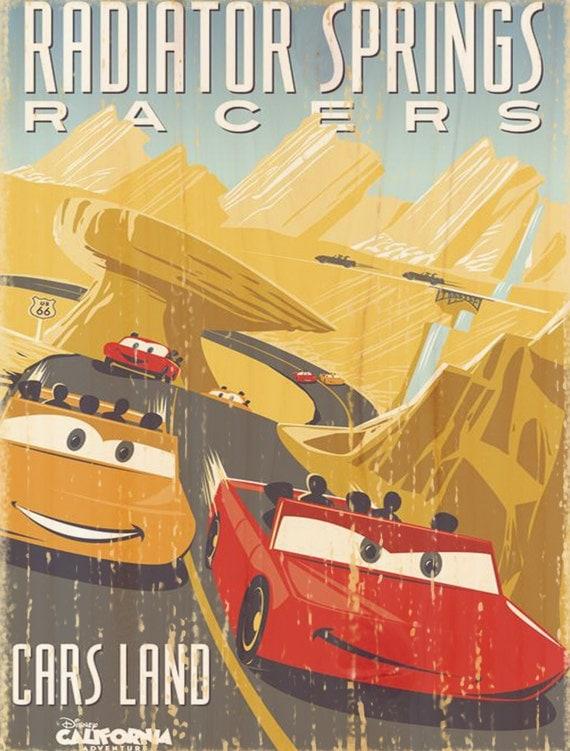 Vintage Disney Radiator Springs Racers Attraction Poster