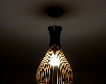 Porcelain-inspired laser cut wooden lampshade