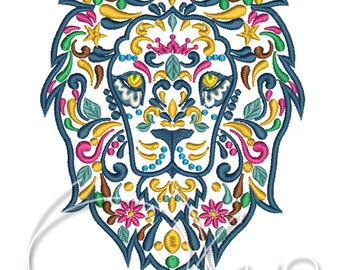 MACHINE EMBROIDERY FILE - Calavera Lion