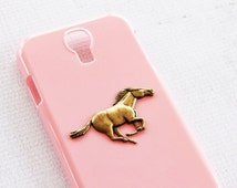 Cell Phone Cases Unique Hard Durable Snap Case Pink and Vintage Horse Pendant Unique Handmade Cell Phone Cases Samsung S4 SIV Covers Hard