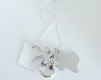 Custom Long Distance Necklace -- TWO State Pendants with Connected Hearts Charm in Middle Silver Necklace