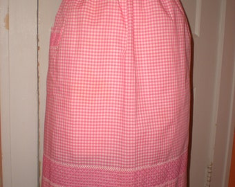 Handmade vintage pink gingham kitchen apron cross stitched panel and pocket.  Large size
