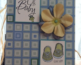 Handmade, stamped, Baby Boy Greeting Card for Baby Shower, Baby Invitation, Birth Announcement