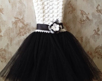 Black and white flower girl tutu dress, flower girl dress, wedding flower girl dress, crochet tutu dress, special event tutu dress