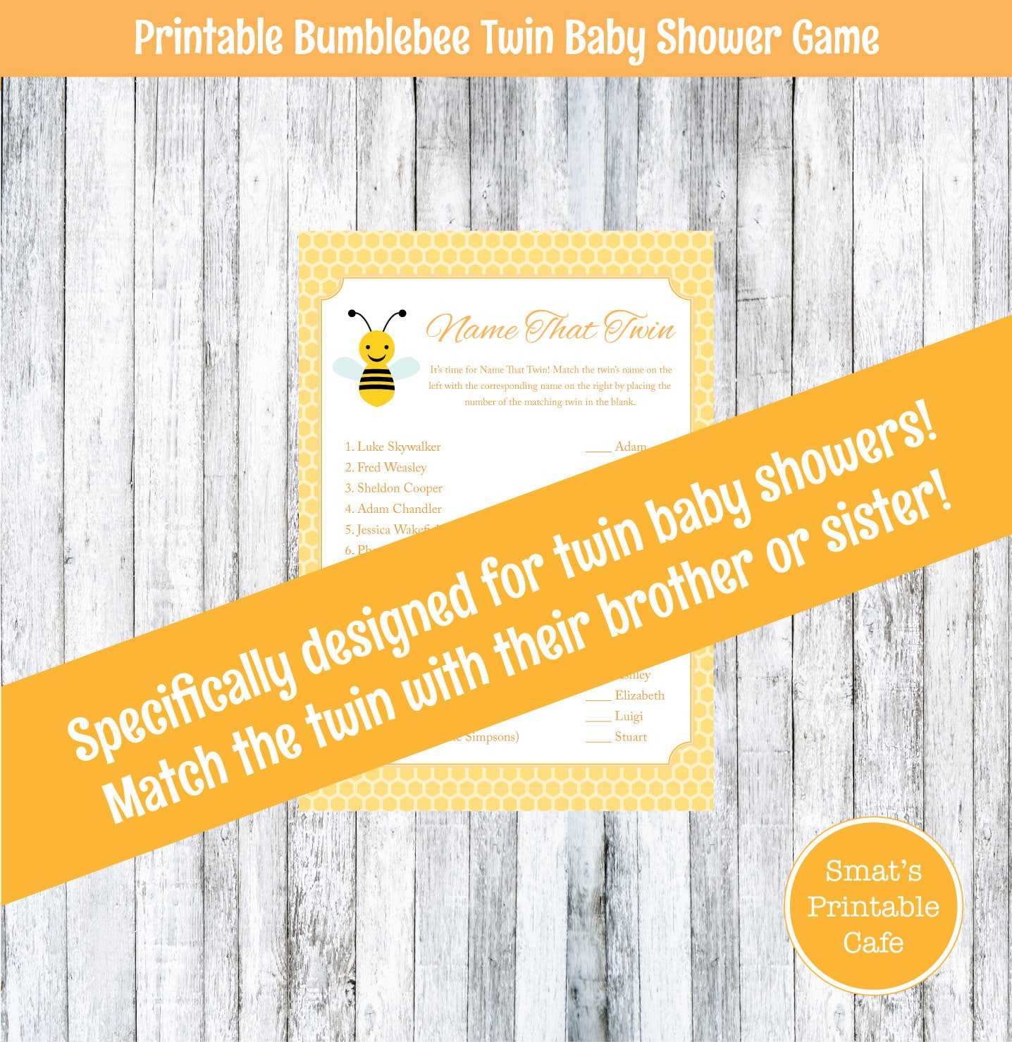 bee name that twin baby shower game for twins printable