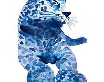 Watercolor Painting Print 'Lovely Leopard' -- Blue Home/office decor and wall art, Animal print of Leopard