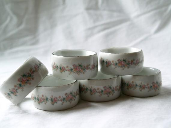 sale white ceramic floral napkin rings by northwestponyexpress