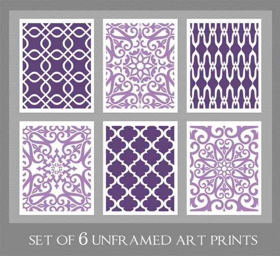 Purple art purple lavender wall art home decor set of 6 for Purple dining room wall art