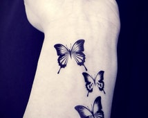 3pcs Butterfly tattoo - InknArt Temporary Tattoo - spring gift pack tattoo quote wrist ankle body sticker anchor bird fake tattoo