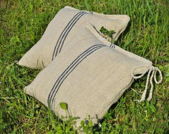 Vintage Authentic Grain Sack Pillow Cover/Antique hemp linen/Navy Blue Stripes/Handmade Pillow Sham