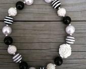 Black/White/Gray Stripe Chunky Bubblegum Necklace