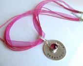 """Personalized Hand Stamped """"Princess"""" Name Necklace - Crystal/Jeweled Charm on a Ribbon Necklace"""