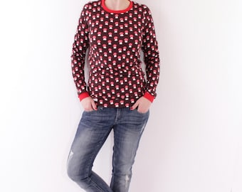 Retroshirt 'Annabell' dark brown with red mushrooms