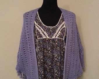 "Lavender Purple ""Delta"" Shawl with Decorative Pattern and Fringe"