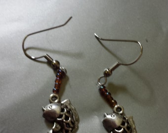Beaded fish earrings