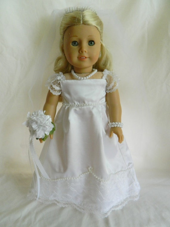 Items similar to american girl white satin wedding dress for American girl wedding dress