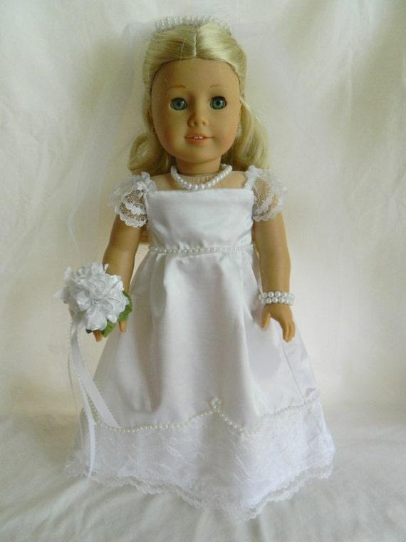 Items similar to american girl white satin wedding dress for American girl wedding dress