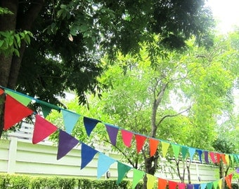 Rainbow bunting banner FREE SHIPPING outdoor bunting - birthday party banner - rainbow party decor -  outdoor multi color party bunting