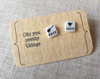 Rock chick earrings - stud earrings - quirky earrings - statement earrings - gift for her