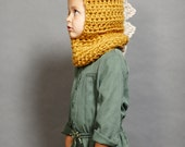 Crocheted Gold and Beige Dino Hoodie