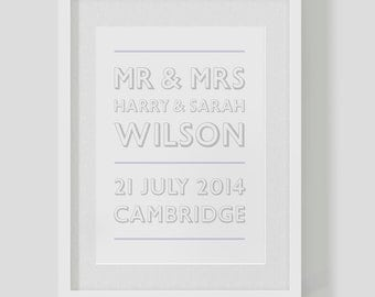 """Personalised Wedding announcement print / poster — name date / marriage or anniversary / custom  """"retro"""" — FREE SHIPPING"""
