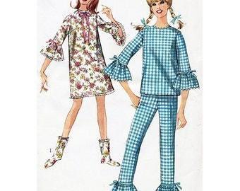 Simplicity 6797 Sewing Pattern Juniors & Misses Nightgown or Pajamas and Booties Size 13