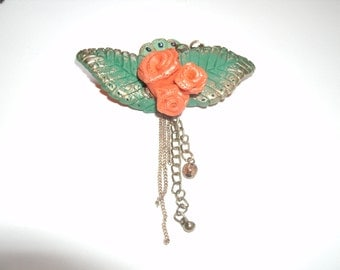 Orange Rose Brooch - Handmade from Polymer Clay Plus Other Elements
