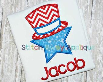 Patriotic Uncle Sam Star Fourth of July Machine Applique Design