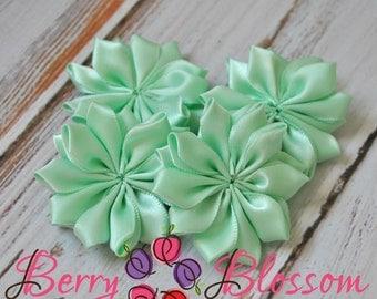 "Brook Green Satin Ribbon Flower 2"" inch size - small satin ribbon flowers - Set of 4 - SF YC145 M"