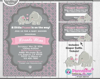 Printable Duo: Invitation and Diaper raffle tickets Elephant baby shower invitation. Little peanut invitation.  Any occasion, any wording!
