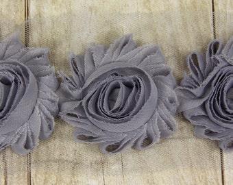 "Shabby Trim -  ""GREY"" Shabby Chiffon Flower shabby chiffon flower trim, shabby chiffon rose trim, shabby rosette trim diy headband"