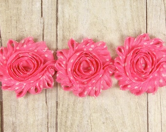 "Rosette -""Lt Pink with White Polka Dots"" Shabby Chiffon Flower - shabby flower trim, shabby chiffon rose trim, shabby rosette trim"