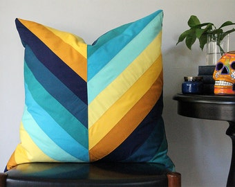 Pacific Diagonal Stripe Pieced Pillow (Oversized)