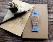 Handmade Blue Paper Fish Art Book: Gift for Valentine's Day, Art Collectable