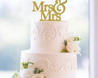 Gay Gold Wedding Cake Topper, Glitter Gold Topper, Gay Cake Topper, Mrs And Mrs Cake Topper, Topper For Wedding, Custom Cake Topper (T003)