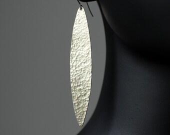 Sterling Silver Matte Spear Drop Earrings
