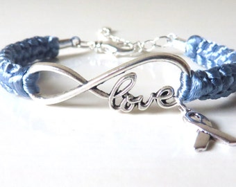 Periwinkle Awareness LOVE Bracelet with Optional Letter Charm Esophageal Cancer Stomach Cancer Eating Disorders Pulmonary Hypertension