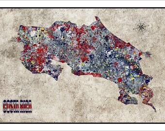 COSTA RICA, Map of Costa Rica, San Jose, Costa Rica Print, Central America, Latin America, South American