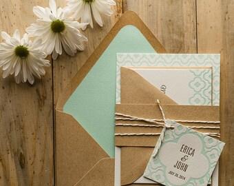 Mint & Kraft Wedding Invitation, Wedding Invite, Rustic Wedding Invite with quatrefoil pattern - Deposit to Get Started