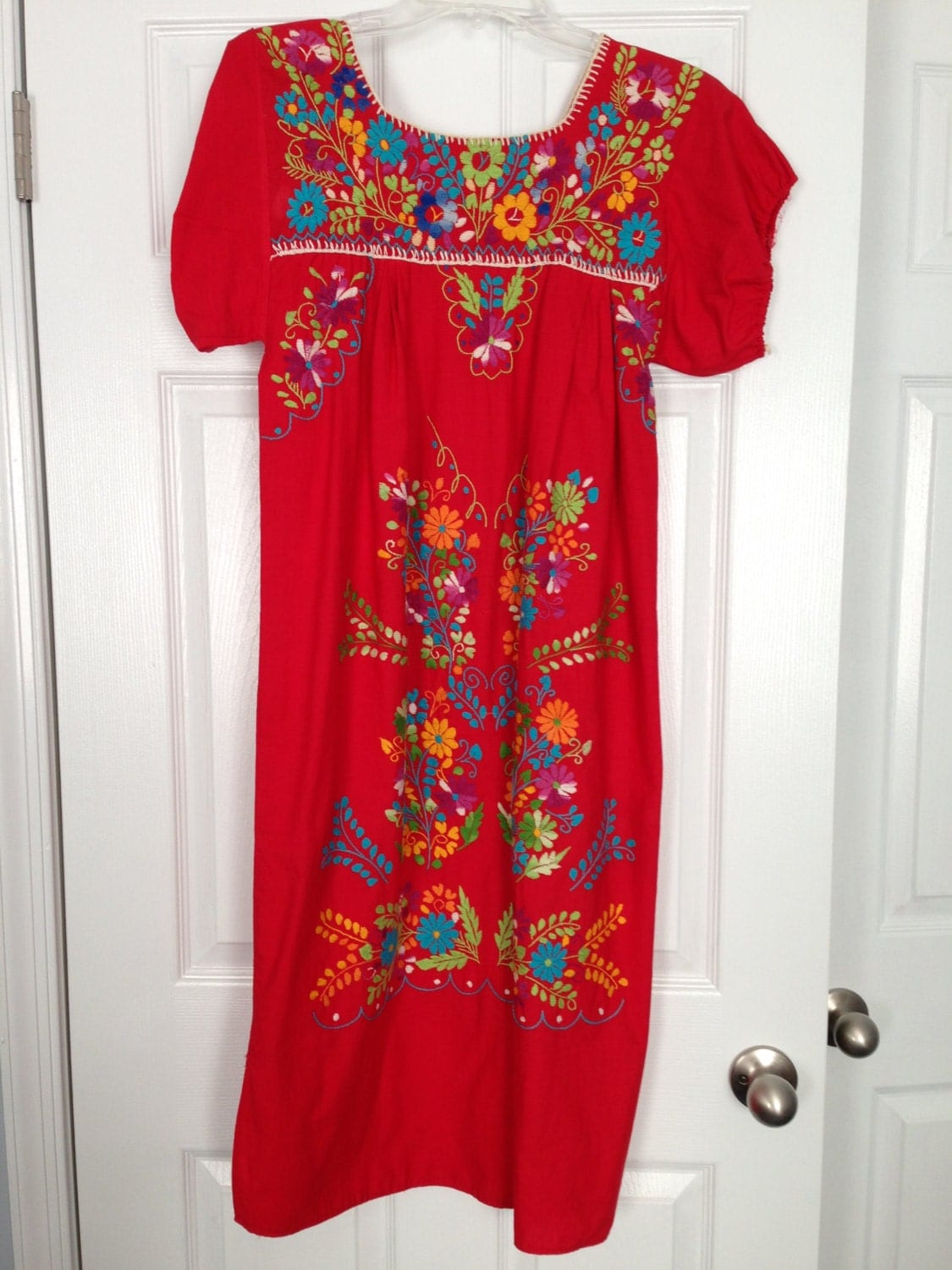 Cool Mexican Embroidered Women Dress Tunic Vintage Summer Dress