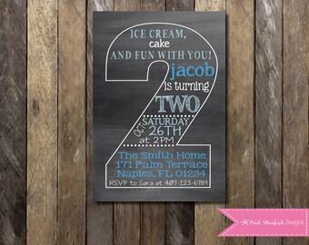 Chalkboard Second Birthday Invitation, Second Birthday Invitation, Printable Invitation, Chalkboard Invitation, Pink Invitation, Blue Invite