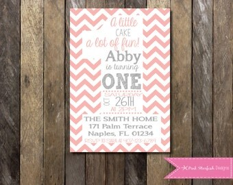 First Birthday Invitation, 1st Birthday Invitation, Pink Chevron, Printable Invitation, Pink and Grey, One, Girl Birthday Invitation, Pink