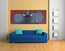 3 Panels Elephant Acrylic Painting