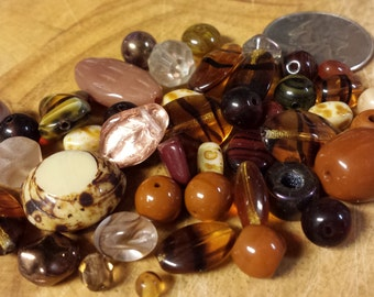 Czech, Pressed, Glass, Faceted, Shaped, Mahogany, Brown, Bead Soup, Mix, Jewelry, Beading, Supply, Supplies - 33 grams